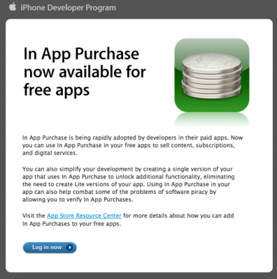 iPhone In App Purchase for Free Apps
