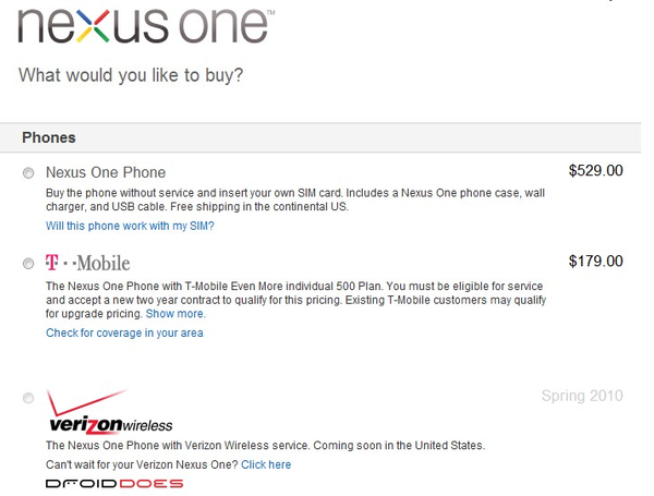 Nexus One Sales