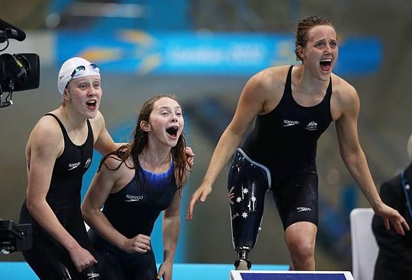 澳洲贏得了女子團體賽 4x100 公尺自由式金牌
