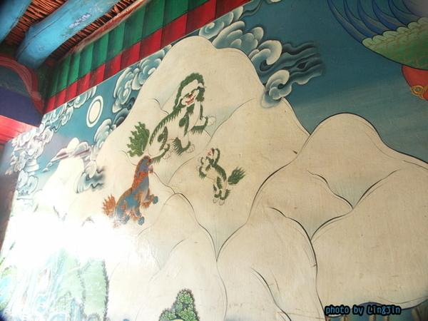 西藏寓言故事壁畫-雪山聖獅圖.JPG