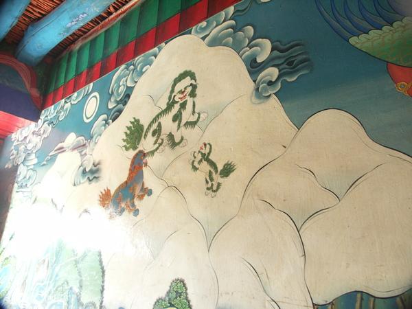 札什倫布寺壁畫-雪山聖獅圖