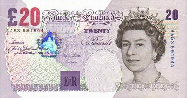 british banknote 20 pounds sterling obverse