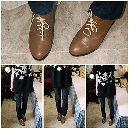 ESTELLA全真皮綁帶高跟牛津踝靴