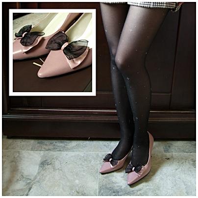 金屬光感雪紡紗蝴蝶結小尖頭高跟鞋
