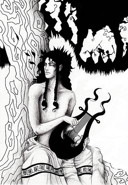 Orpheus_and_the_Maenads_by_llewllaw