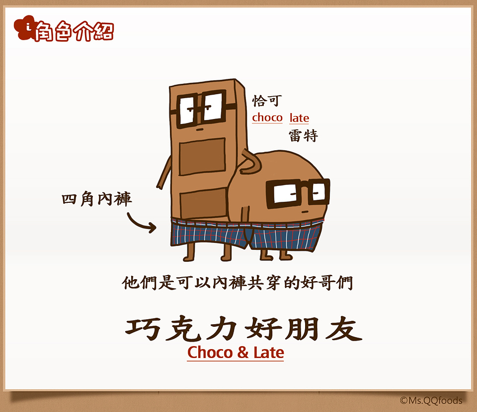 食物卡通漫畫角色介紹,巧克力好朋友,食物卡通漫畫角色個性,Cartoon foods Character introduction,Cartoon character personality, Chocolate friends,QQ小姐的食物漫畫,