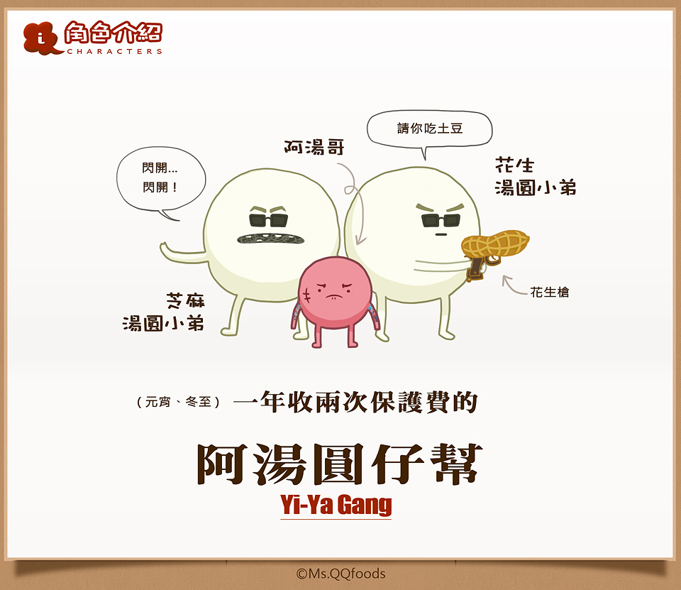 食物卡通漫畫角色介紹,阿湯圓仔幫,食物卡通漫畫角色個性,Cartoon foods Character introduction,Cartoon character personality, Yi-Ya Gang,QQ小姐的食物漫畫,