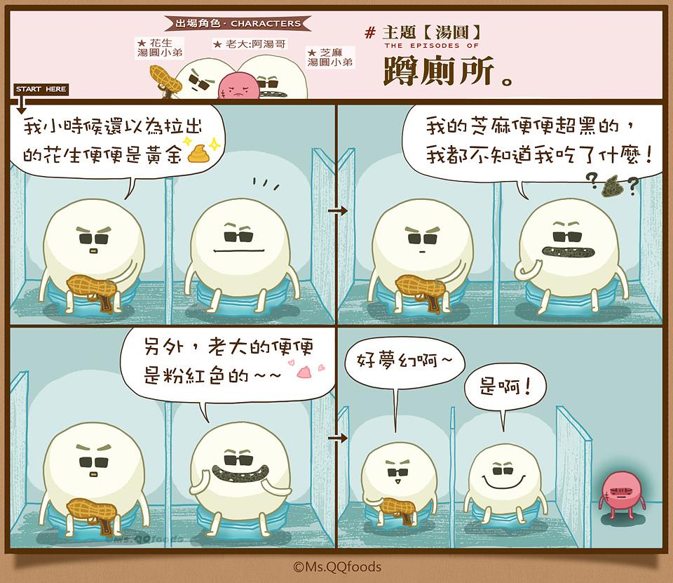 阿湯圓仔幫,湯圓蹲廁所,QQ小姐的食物漫畫,
