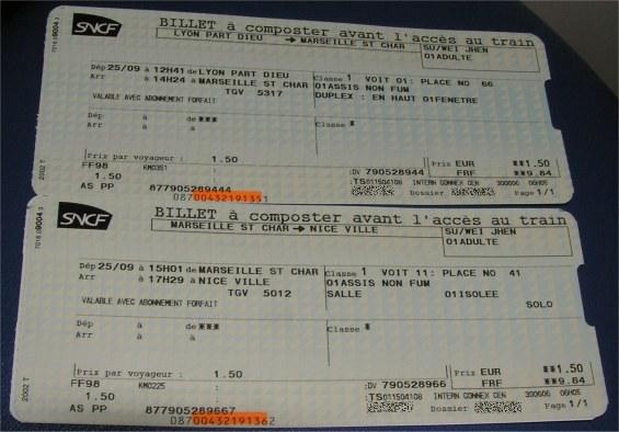 TGV 列車劃位票