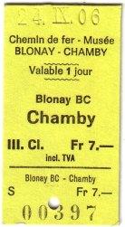 Blonay-Chamby 鐵道車票
