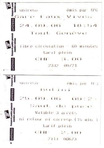 日內瓦 地鐵單次車票
