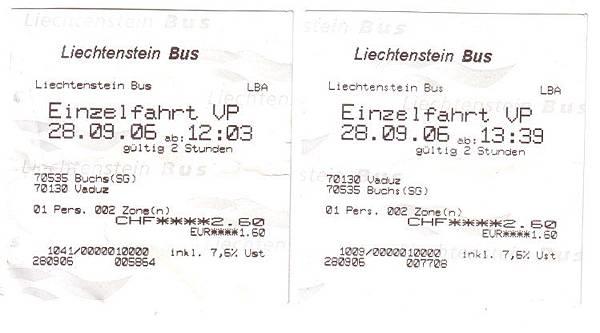 列支敦士登 巴士車票