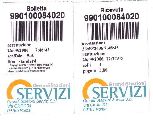 羅馬 Termini 車站寄物收據