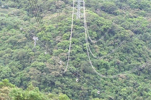 貓空纜車 從高壓電纜下通過