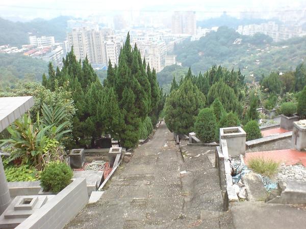 整齊的公墓區,有路下山