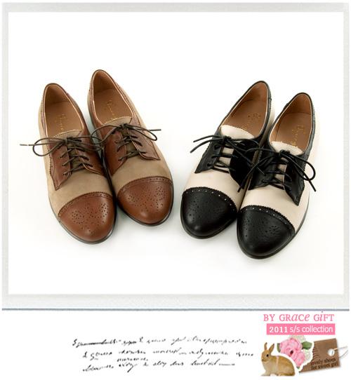 Grace gift英倫學院風~頂級牛皮復古雙色牛津鞋 咖X杏