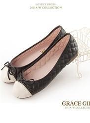 雙色菱格紋蝴蝶結芭蕾舞鞋 白X黑
