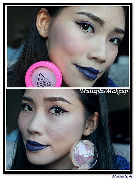 3 maybelline vs 3ce purple blush face.jpg