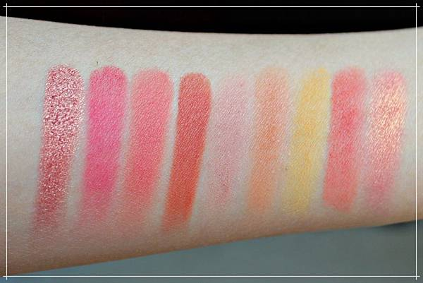 huda beauty obsessions eyeshadow coral swatches.jpg