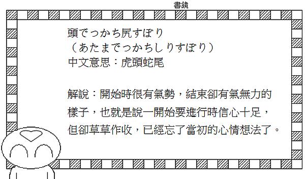 日文諺語虎頭蛇尾