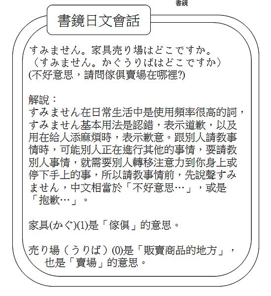 日文會話不好意思,請問傢俱賣場在哪裡1
