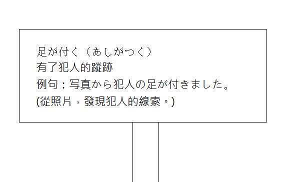 日文慣用語-有了犯人的蹤跡2