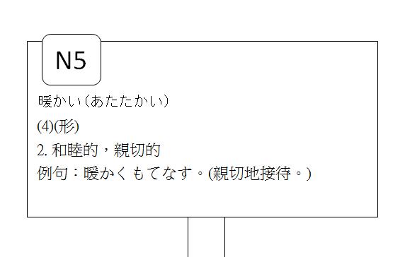日文檢定N5暖和的溫暖的6