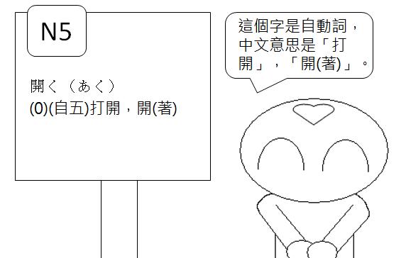 日文檢定N5打開開著2