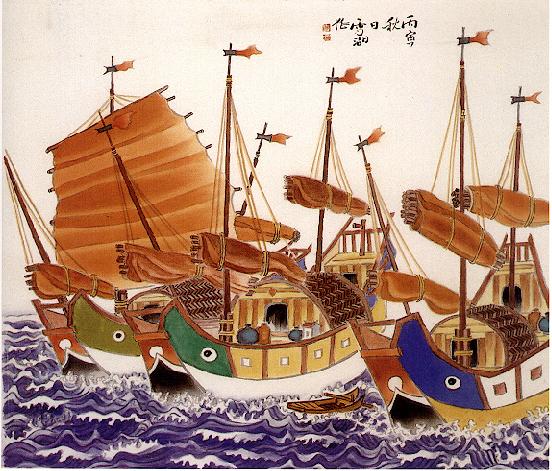 三彩船by郭雪湖