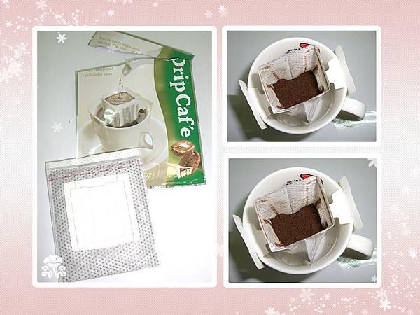 步驟一:將掛耳包外袋開封並將濾袋延虛線撕開,再將之裝置在已溫杯後的咖啡杯上。
