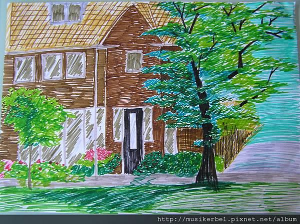 彩色筆畫荷蘭房屋