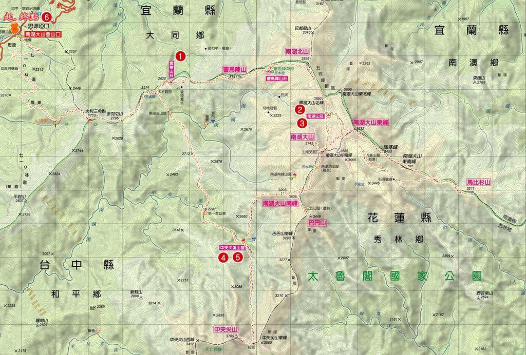 北一段每日行進路線圖