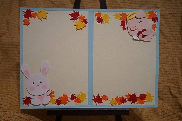 小張直式-楓葉兔子+小豬