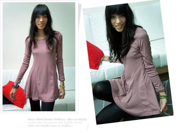 ♥ Znia shop ♥特價款。接片素面圓領傘狀洋裝.二入299.JPG