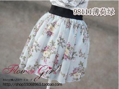 「花襲人」日式花朵雪紡短裙 薄荷綠薔薇 145.JPG