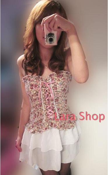 2010日本VIVI雜志款粉色小碎花下擺綢緞裹胸裙.JPG