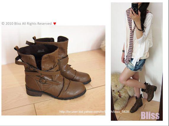 。Bliss。韓、夏天繞繩環釦反折短靴踝靴.JPG