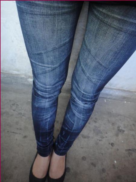 新款 褶皺仿牛仔打底褲9分顯瘦加絨拉毛1012.JPG