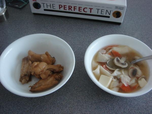 滷雞翅和味增湯