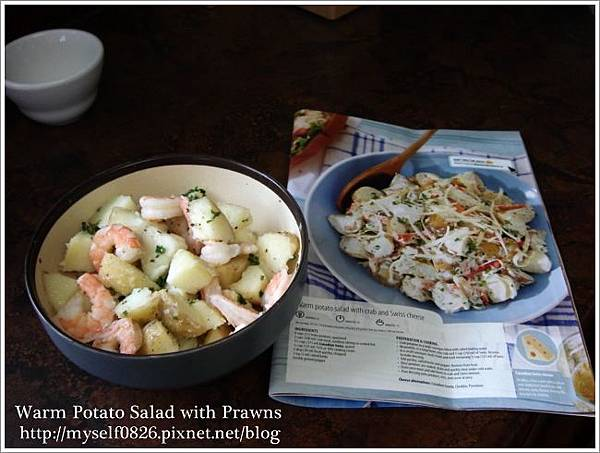 warm potato salad with prawns 1