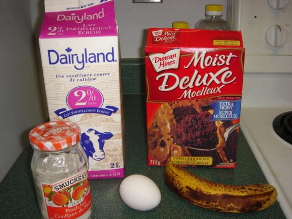 banana chocolate muffin 之材料