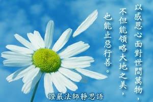 以感恩心面對世間萬物,不但能領略大地之美,也能止惡行善。