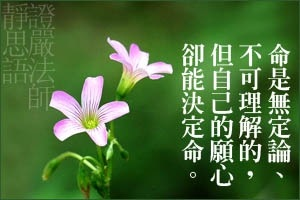 命是無定論、不可理解的,但自己的願心卻能決定命。
