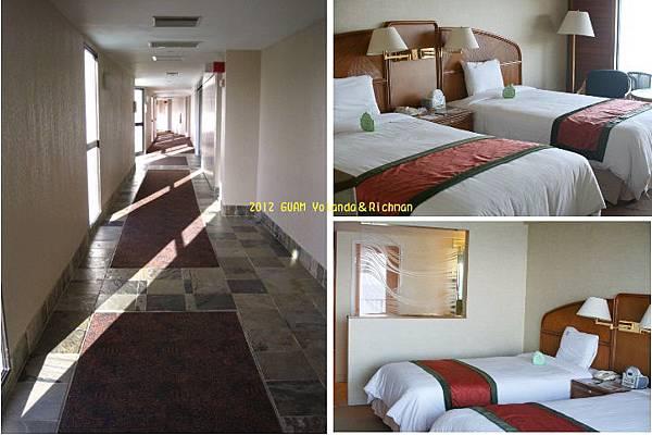 飯店走廊與床