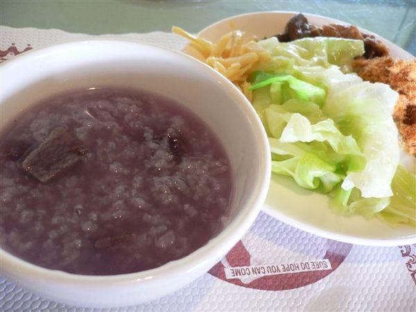 養生紫米粥+高麗菜