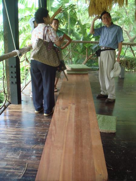 遮陽棚內木製板凳
