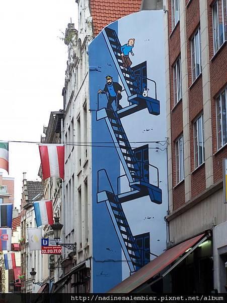 比利時布魯塞爾大廣場Grand Place,Grote Markt , Grand Place –丁丁路邊塗鴉 tintin, Les Aventures de Tintin et Milou , Tintin et Milou , Tintin and Snowy (恆溫街Rue de L'Etuve橡樹街Rue du Chene  Brussels,Bruxelles)
