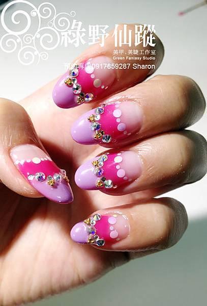 201203雙法式貼鑽光療指甲