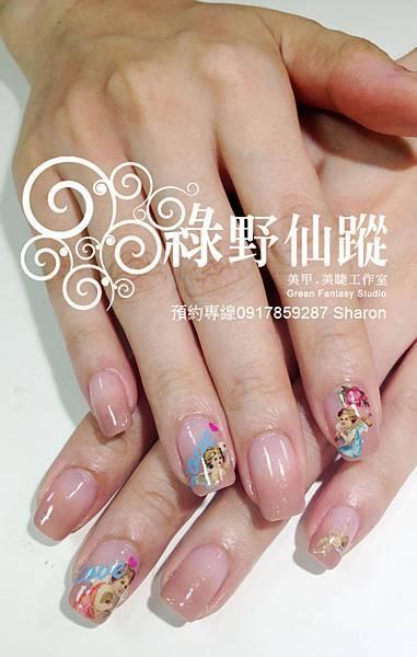 【光療指甲】201204奶茶色漸層+小天使寫真貼光療指甲