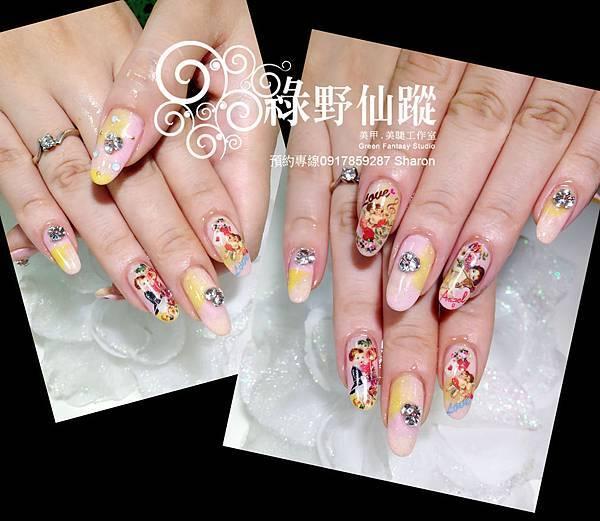 20120529Karen色塊加日本小天使寫真貼光療指甲